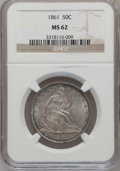 Seated Half Dollars: , 1861 50C MS62 NGC. NGC Census: (33/151). PCGS Population (40/156).Mintage: 2,888,400. Numismedia Wsl. Price for problem fr...