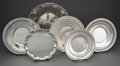 Silver Holloware, American:Plates, GROUP OF SIX AMERICAN AND ENGLISH SILVER DISHES . 11-1/2 inchesdiameter (29.2 cm) (largest). 63.71 troy ounces. ...