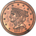 Proof Braided Hair Half Cents, 1857 1/2 C PR64 Red and Brown NGC. B-2, R.4....