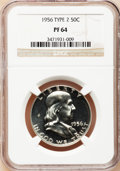 Proof Franklin Half Dollars: , 1956 50C Type Two PR64 NGC. NGC Census: (72/5613). PCGS Population(370/5486). Mintage: 669,384. Numismedia Wsl. Price for ...