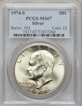 Eisenhower Dollars: , 1974-S $1 Silver MS67 PCGS. PCGS Population (3462/897). NGC Census: (709/126). Mintage: 1,900,156. Numismedia Wsl. Price fo...