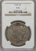 Peace Dollars: , 1928 $1 Fine 15 NGC. NGC Census: (8/4998). PCGS Population(4/7357). Mintage: 360,649. Numismedia Wsl. Price for problem fr...