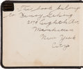 Autographs:Others, 1917 Lou Gehrig's Signed Personal Autograph Book--Contains SecondEarliest Gehrig Signature Known!...