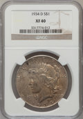 Peace Dollars: , 1934-D $1 XF40 NGC. NGC Census: (18/3788). PCGS Population(22/5090). Mintage: 1,569,500. Numismedia Wsl. Price for problem...