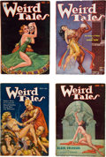 Books:Pulps, Set of Weird Tales Pulps Featuring H. P. Lovecraft (Popular,1937).... (Total: 4 Items)