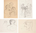 Miscellaneous, Garth Williams. Preliminary drawings and rough sketches forillustration #3 appearing in The Cricket in Times Square.Pe...