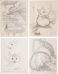 Miscellaneous, Garth Williams. Preliminary drawings and rough sketches forillustrations #4, #5, and #6 appearing in The Cricket inTimes... (Total: 3 Items)