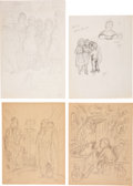 Miscellaneous, Garth Williams. Preliminary drawings and rough sketches forillustrations #7, #8, and #9 appearing in The Cricket inTimes...