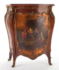 LOUIS XV STYLE VERNIS MARTIN DECORATED GILT BRONZE MOUNTED CABINET WITH MARBLE TOP France, early 20th century