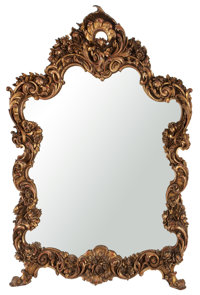 ROCOCO STYLE GILT WOOD OVER MANTLE MIRROR France, 20th century 58 x 44-1/2 x 5 inches (147.3 x 113.0 x 12.7 cm