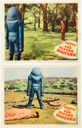 "Miscellaneous:Movie Posters, Earth vs. the Flying Saucer (Columbia, 1956). Lobby Cards (2) (11"" X 14""). Loosely based on the book Flying Sa..."