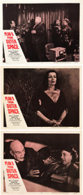 """Miscellaneous:Movie Posters, Plan 9 from Outer Space (DCA, 1958). Lobby Cards (3) (11"""" X14""""). """"It's so bad it's good"""" is a phrase commonly used ..."""