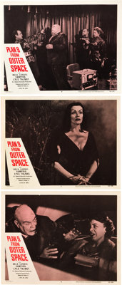 """Plan 9 from Outer Space (DCA, 1958). Lobby Cards (3) (11"""" X 14""""). """"It's so bad it's good"""" is a"""