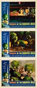 "Miscellaneous:Movie Posters, Invasion of the Saucer-Men (American International, 1957).Lobby Cards (3) (11"" X 14""). If you watch this 1957 spac..."