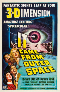 """It Came from Outer Space (Universal, 1953). One Sheet (27"""" X 41"""") 3-D Style. After a spaceship"""