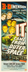 "Miscellaneous:Movie Posters, It Came from Outer Space (Universal, 1953). Insert (14"" X36"") 3-D Style. An excellent poster from a standard-sett..."