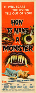 "Miscellaneous:Movie Posters, How to Make a Monster (American International, 1958). Insert(14"" X 36""). The make-up artist (Robert H. Harris) at..."