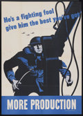 "Movie Posters:War, War Propaganda Poster (U.S. Govt. Printing, 1944). ""He's a FightingFool"" World War II Poster (28"" X 40"")...."