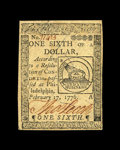 Colonial Notes:Continental Congress Issues, Continental Currency February 17, 1776 $1/6 Very Choice New. A Gemin every respect but for the face margins, which although...