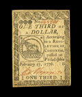 Colonial Notes:Continental Congress Issues, Continental Currency February 17, 1776 $1/3 Choice New. This isnothing short of an exceptional example of this immensely po...