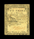 Colonial Notes:Continental Congress Issues, Continental Currency February 17, 1776 $2/3 Extremely Fine-AboutNew. Save for a moderate center fold and a tight bottom mar...