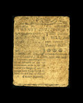 "Colonial Notes:Delaware, Delaware March 1, 1758 20s Fine. Last sold by CAA in 2002 where itwas described, ""The margins are close all around and they..."