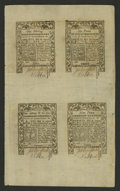 Colonial Notes:Rhode Island, Rhode Island May 1786 Double Sheet of Eight Superb Gem New. Thesheet has split into two half sheets. There are two notes ea...
