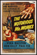 """Movie Posters:Crime, The Notorious Mr. Monks (Republic, 1958). One Sheet (27"""" X 41"""").Crime. ..."""