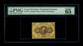 Fractional Currency:First Issue, Fr. 1231 5c First Issue PMG Gem Uncirculated 65 EPQ. Straight edgesand no monogram set this issue apart by type. The margin...