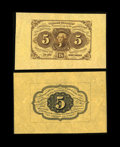 Fractional Currency:First Issue, Fr. 1231SP 5c First Issue Wide Margin Pair Superb Gem New. The faceis not quite as large as the exceptionally wide back, bu... (Total:2 notes)