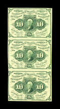 Fractional Currency:First Issue, Fr. 1242 10c First Issue Vertical Strip of Three Choice New. Thisis a bright vertical strip of three that possesses origina...