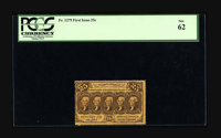 Fr. 1279 25¢ First Issue PCGS New 62. A gorgeous perforated 25¢ note with deep fold perforations all the way a...