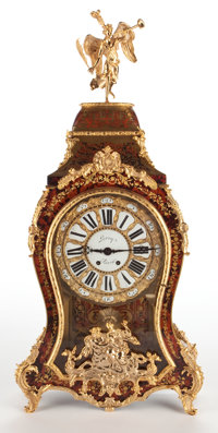 RAY & CLARE STERN ESTATE  LOUIS XV STYLE FIGURAL BOULLE CLOCK WITH GILT BRONZE MOUNTS, PORCELAIN DIAL INSCRIBED