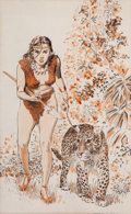 Art:Illustration Art - Pulp, GRAY MORROW (American, 1934-2001). Jungle Girl with Tiger, storyillustration. Watercolor and ink on paper. 8.25 x 5 in....