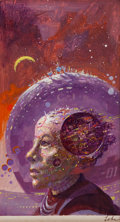 Art:Illustration Art - Pulp, PAUL LEHR (American, 1930-1998). The Wonderful World of RobertSheckley, paperback cover, 1979. Oil on board . 7.75 x 4....