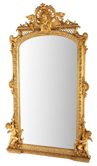 A FRENCH MONUMENTAL NEOCLASSICAL STYLE GILT WOOD PIER MIRROR Late 19th century 95 x 58 x 10-3/4 inches (241.3