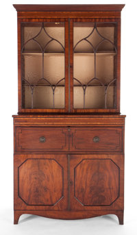 GEORGE III SECRETARY DESK WITH GLAZED FRONT BOOKCASE England, circa 18th century Marks: J. Bramah (