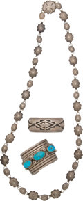 American Indian Art:Jewelry and Silverwork, THREE NAVAJO SILVER JEWELRY ITEMS. c. 1930 - 1960... (Total: 3Items)
