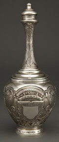 Silver Holloware, Continental:Holloware, A CONTINENTAL SILVER COVERED BOTTLE . Unknown maker, possiblyPortugal, circa 1900. Marks: 833, h, (effaced) . 13inches... (Total: 2 Items)