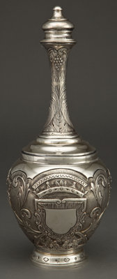 A CONTINENTAL SILVER COVERED BOTTLE, possibly Portugal, circa 1900 Marks: 833, h, (effaced) 13 inch