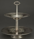 Silver & Vertu:Hollowware, A THEODORE B. STARR RETICULATED SILVER TWO TIER CAKE STAND . Theodore B. Starr, New York, New York, circa 1880 . Marks: (dra...