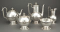 Silver Holloware, American:Tea Sets, A JOHN WENDT FIVE-PIECE SILVER COFFEE AND TEA SERVICE . John R.Wendt & Co., New York, New York, circa 1862. Marks: STARR... (Total: 6 Items)
