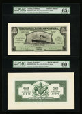 Canadian Currency: , Port of Spain, Trinidad- The Royal Bank of Canada $5 (£1-0-10) Jan.2, 1920 Ch. # 630-66-02FP/BP Face and Back Proofs. ... (Total: 2notes)
