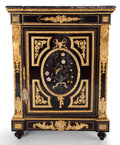 Furniture : French, A LOUIS XVI-STYLE LACQUERED GILT BRONZE MOUNTED CABINET WITH HARDSTONE DECORATION AND MARBLE TOP . France, in part late 19t...