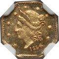 California Fractional Gold: , 1854 50C Liberty Octagonal 50 Cents, BG-305, Low R.4, MS64 NGC. NGCCensus: (3/2). PCGS Population (7/1). (#10425)...