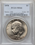Eisenhower Dollars: , 1978 $1 MS66 PCGS. PCGS Population (319/5). NGC Census: (127/5). Mintage: 25,702,000. Numismedia Wsl. Price for problem fre...