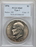 Eisenhower Dollars: , 1976 $1 Type One MS65 PCGS. PCGS Population (464/22). NGC Census: (185/14). Mintage: 4,019,000. Numismedia Wsl. Price for p...