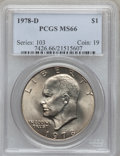 Eisenhower Dollars: , 1978-D $1 MS66 PCGS. PCGS Population (506/1). NGC Census: (181/2). Mintage: 33,012,890. Numismedia Wsl. Price for problem f...