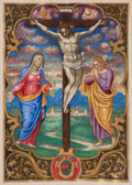 Books:Religion & Theology, [Illuminated Manuscript Leaf]. Scene of the Crucifixion. [N.p.,n.d., circa eighteenth century]. Double-sided vellum leaf em...