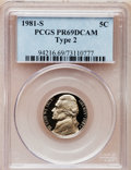 Proof Jefferson Nickels: , 1981-S 5C Type Two PR69 Deep Cameo PCGS. PCGS Population (1417/12).Numismedia Wsl. Price for problem ...